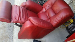 Lazboy red leather recliner