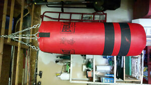 Punching bag and brand new boxing gloves