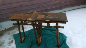 antique birch nesting tables