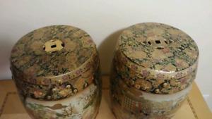 Art chinois, banc de porcelaine peint à la main
