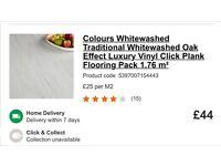 10 packs of whitewashed oak effect waterproof click vinyl flooring