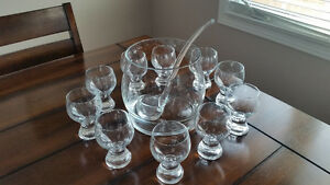 Glass Punch Bowl Set, 10 Cups & Glass Ladle