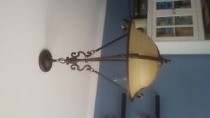 Chandelier with brown frosted glass