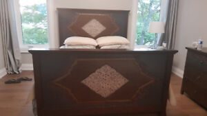 PIER IMPORTS BALI QUEEN BED -  SOLID WOOD