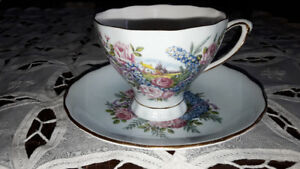 BONE CHINA CUP SAUCER, COTTAGE/GARDEN, COLCLOUGH,