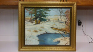 Antique winter oil painting