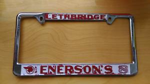 Vintage Lethbridge Enersons Pontiac Licence Plate Frame