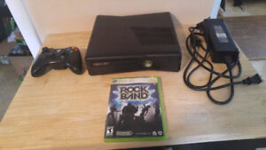 Xbox 360 Slim With Rock Band Game And All Music Equipment!