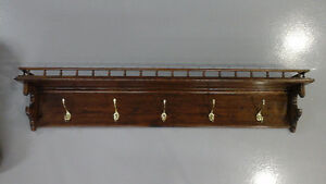 SOLID OAK COAT RACK WITH TOP SHELF