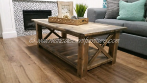 Rustic Coffee Table - accent furniture (breadboard top)