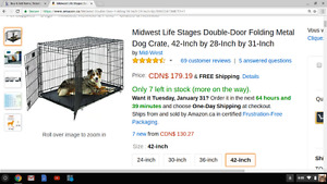NEW Double-Door Folding Metal Dog Crate XL. BNIB Well Reviewed