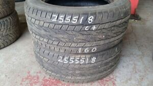 Pair of 2 Continental Crosscontact LX20 255/55R18 tires (65% tre