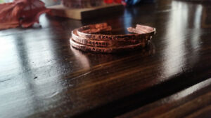 Hand  Stamped Bare Copper Wire Bangles.