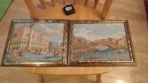 Pair of Old Framed Wall Tapestries, Italy Venice Scenery
