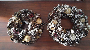 TWO CHRISTMAS WREATHS