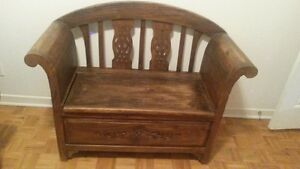 Banc coffre et cadre / wood bench chest and frame