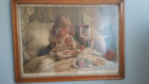 Suspense....by  C. Burton Barber ....Antique Lithograph