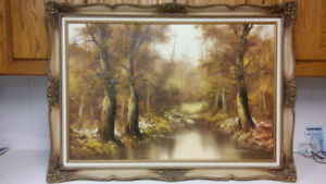Beautiful old landscape oil painting