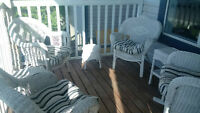 White Wicker Outdoor Set with Chair Pads
