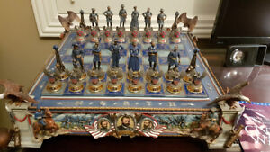 Franklin Mint Civil War Chess Set -Heroes of the North and South