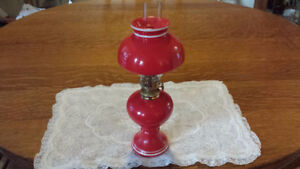 Miniature Vintage Red & White Oil Lamp For Sale!