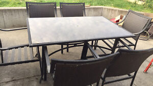 Patio and six chairs $150