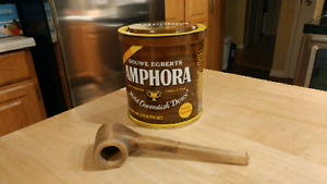 VINTAGE WOODEN PIPE & EMPTY AMPHORA PIPE TOBACCO TIN