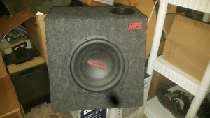 10 inch sub in box with attached amp