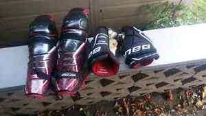 Hockey shin pads and gloves