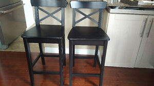 2 counter, pub or bar stools / chairs with backrest