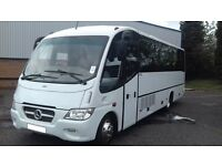 29 SEATER LUXURY MIDI-COACH HIRE WITH DRIVER - ALL WORK COVERED - CALL 0203 633 4226