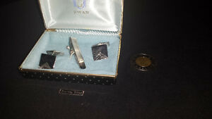 (#01) Cuff-Links & Tie Pin - Sterling Silver (Set)
