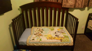 Crib, change table,  dresser and glider chair