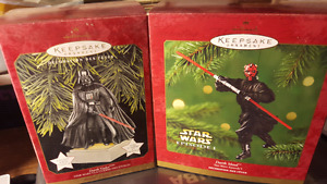 TWO HALLMARK KEEPSAKE ORNAMENT DARTH VADER DARTH MAUL