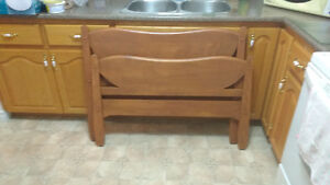 Twin soild wooden headboard and footboard and rails