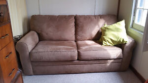 Pullout microsuede couch with pullout.