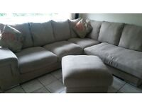L shaped couch for sale plus footstool (cushions free) SOLD