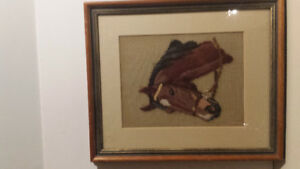Vintage Thoroughbred Horse - Needlepoint-Ex Condition