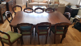 Antique extendable Regency Style dining table and 10 chairs