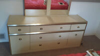 White Seven Section Dresser and Mirror