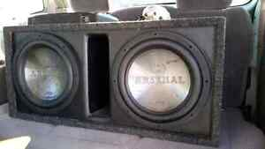"2 12"" JVC Arsenal subwoofers and box"