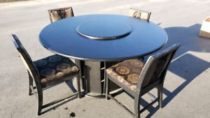 5 ft round dining room table with 8 chairs