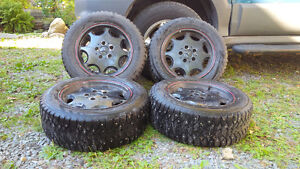 "15"" Mercedes rims with studded tires (set of 4) - $300"