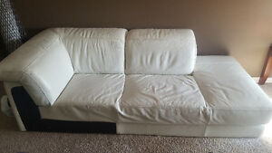 MOVING SALE - White leather sectional sofa