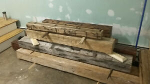 Hand Hewn Beams for Fireplace Mantels