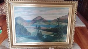 signed oil painting of quidi vidi lake