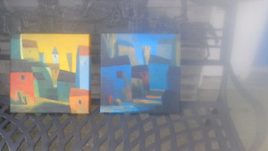 Pair of Peter Chung oil Paintings