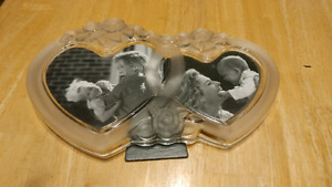 Glass heart picture frame