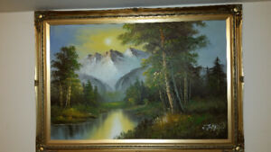 """41""""x29"""" Oil Painting Mountains"""