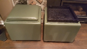 """17"""" Crate and Barrel Leather Ottomans"""